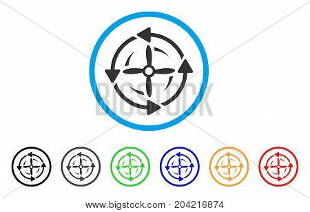 Screw Rotation icon. Vector illustration style is a flat iconic screw rotation gray rounded symbol inside light blue circle with black, gray, green, blue, red, orange color variants.