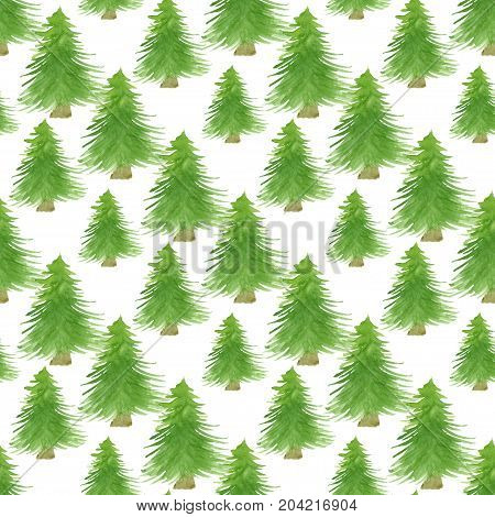 Christmas trees seamless patten. Watercolor print for New Year design. Wrapping paper design.