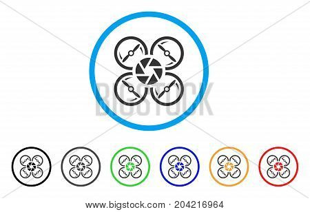 Shutter Drone icon. Vector illustration style is a flat iconic shutter drone gray rounded symbol inside light blue circle with black, gray, green, blue, red, orange color additional versions.