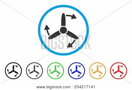 Three Bladed Screw Rotation icon. Vector illustration style is a flat iconic three bladed screw rotation grey rounded symbol inside light blue circle with black, gray, green, blue, red,