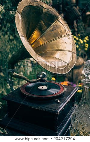 Retro old gramophone with horn speaker, toned, vertical image