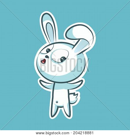 Sticker emoji emoticon, emotion what happens, hey, vector isolated illustration surprised character sweet, cute white rabbit, bunny, hare, coney, cony, lapin for happy Easter mobile app