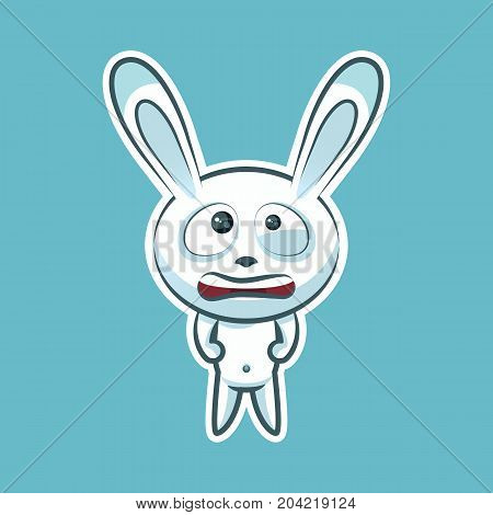 Sticker emoji emoticon, emotion nervous, tense, twitching eyes vector isolated illustration character sweet, cute white rabbit, bunny, hare, coney, cony, lapin for happy Easter mobile app