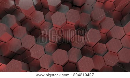 Wall of Hexagons 3d rendering desktop background