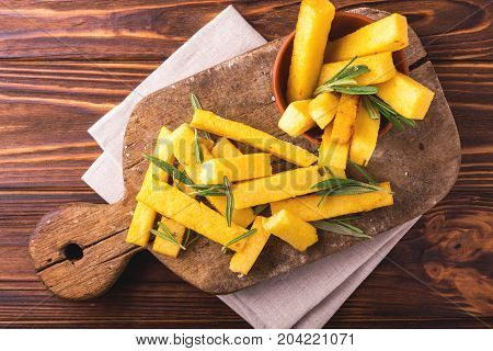 Polenta Fries With Rosemary. Italian Appetizers. Top View.