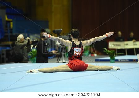 Male Gymnast Performing During Competition
