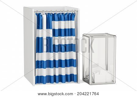 Greek election concept ballot box and voting booths with flag of Greece 3D rendering