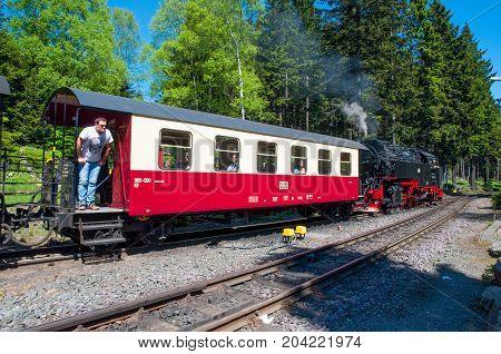 Steam Train Leaving Schierke Train Station In Germany