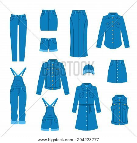 Denim clothes flat icons. Fashion style vector. Casual outfit for women. Female basic wardrobe elements. Blue jean garments for trendy look. Cotton clothing for modern girl. Isolated on white