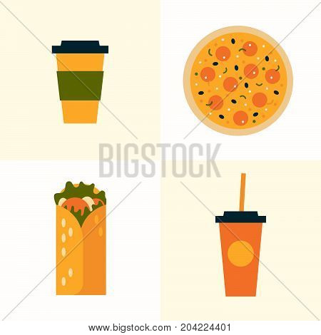 Set of icons on theme of fast food. Food and drink takeaway: pizza, roll, paper cups cola and coffee. Vector illustration.