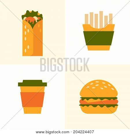 Set of icons on theme of fast food. Food and drink takeaway: French fries, roll, burger, paper cups coffee. Vector illustration.