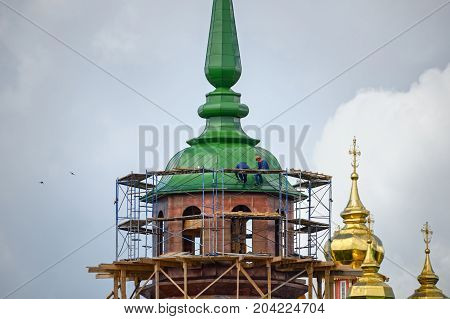 Reconstruction of the Pyatnitskaya tower of the Sergiyev Posad monastery (Trinity Lavra of St. Sergius). Sergiyev Posad, Golden Ring, Russia