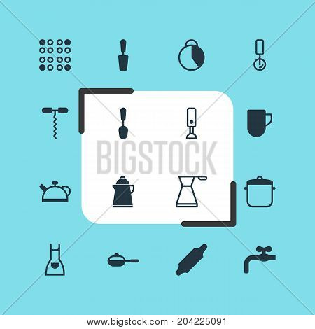 Editable Pack Of Tea Cup, Teakettle, Cooker And Other Elements.  Vector Illustration Of 16 Cooking Icons.