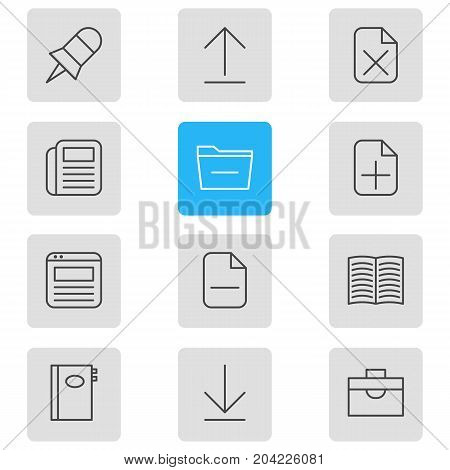 Editable Pack Of Textbook, Remove, Deleting Folder And Other Elements.  Vector Illustration Of 12 Bureau Icons.