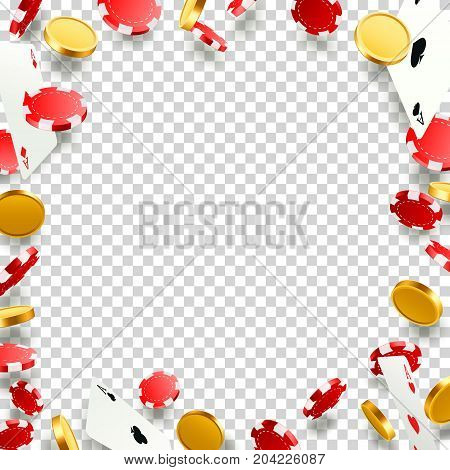 Flying falling poker cards with playing chips and coins. Casino objects on the transparent background. Vector illustration