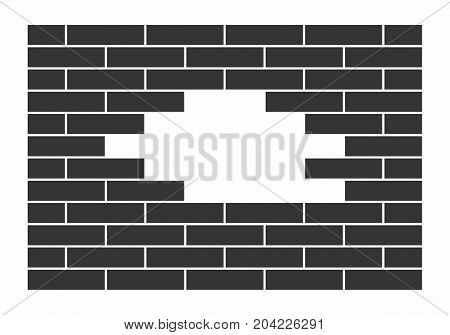 Black wall with some missing bricks. Vector illustration.