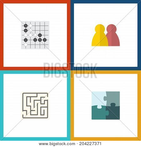 Flat Icon Games Set Of Gomoku, Labyrinth, Jigsaw And Other Vector Objects