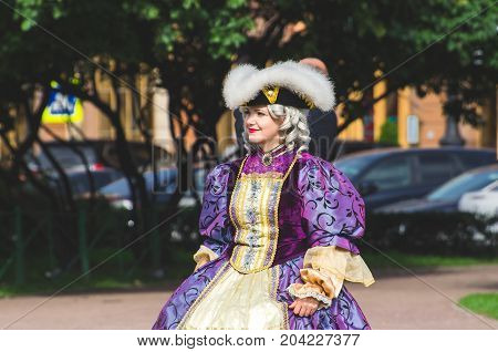 The girl in the suit of the Empress. Russia. Sain-Petersburg. September 02. 2017