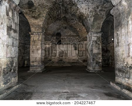 Old abandoned dungeons or catacombs. Abandoned rooms and corridors.
