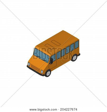 Autobus  Vector Element Can Be Used For Bus, Auto, Car Design Concept.  Isolated Bus Isometric.
