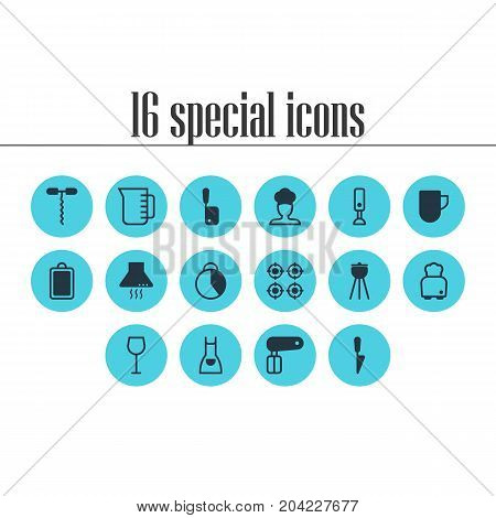 Editable Pack Of Kitchen Dagger, Tea Cup, Butcher Knife And Other Elements.  Vector Illustration Of 16 Cooking Icons.