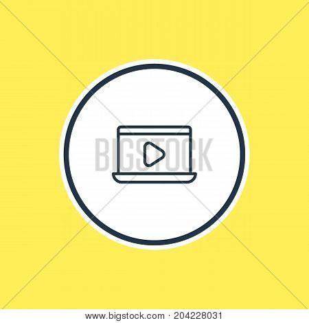 Beautiful Cinema Element Also Can Be Used As Monitor Element.  Vector Illustration Of Movie On Laptop Outline.