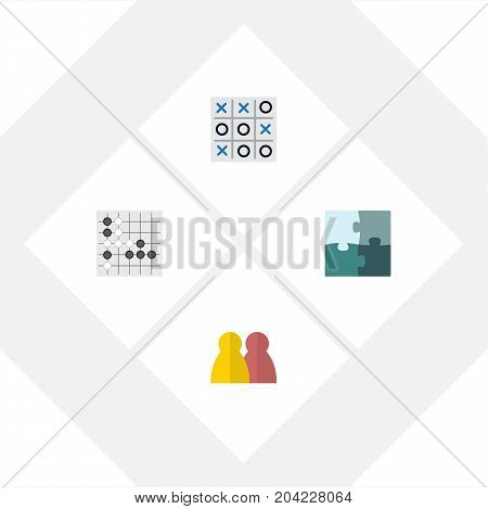 Flat Icon Games Set Of People, Gomoku, Jigsaw And Other Vector Objects