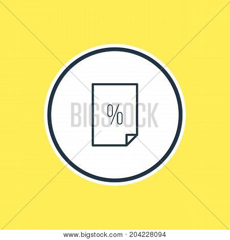 Beautiful File Element Also Can Be Used As Percent  Element.  Vector Illustration Of Contract Outline.