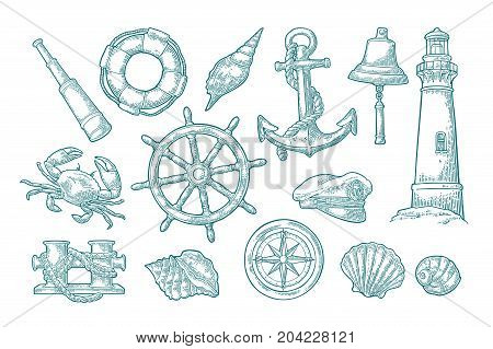 Set sea adventure. Anchor wheel bollard hat compass rose shell crab bell lifebuoy lighthouse isolated on white background. Vector cyan vintage engraving illustration. For poster yacht club.