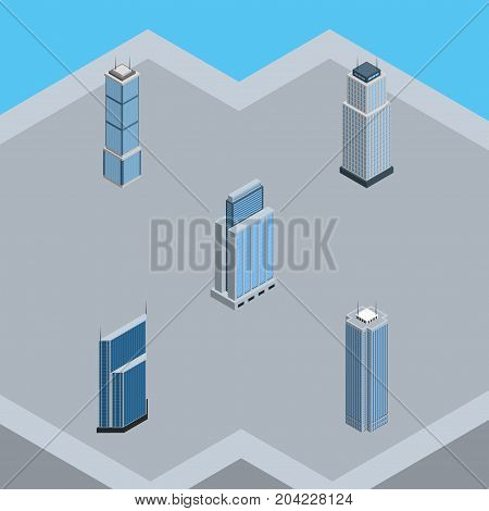 Isometric Skyscraper Set Of Urban, Skyscraper, Tower And Other Vector Objects