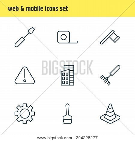 Editable Pack Of Caution, Hatchet, Cogwheel And Other Elements.  Vector Illustration Of 9 Construction Icons.