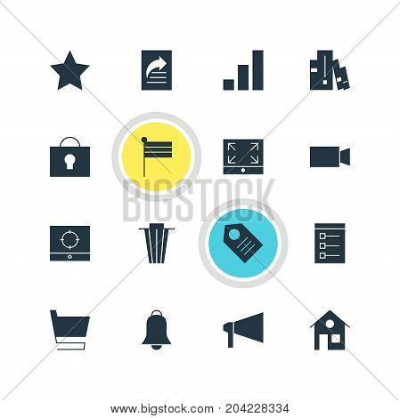 Editable Pack Of Maximize, Trolley, Bookshelf And Other Elements.  Vector Illustration Of 16 Internet Icons.