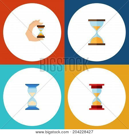 Flat Icon Timer Set Of Waiting, Clock, Sandglass Vector Objects