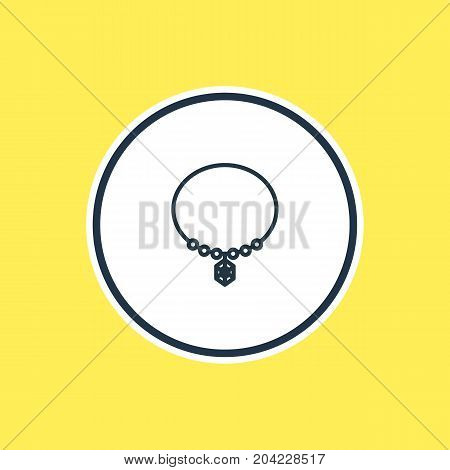 Beautiful Engagement Element Also Can Be Used As Jewelry Element.  Vector Illustration Of Necklace Outline.