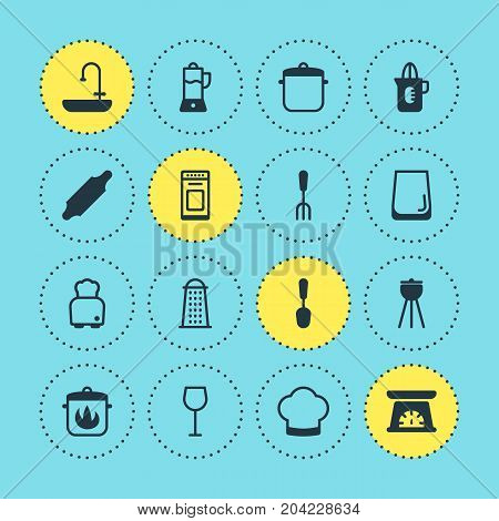 Editable Pack Of Washstand, Fruit Squeezer, Chef Elements.  Vector Illustration Of 16 Cooking Icons.