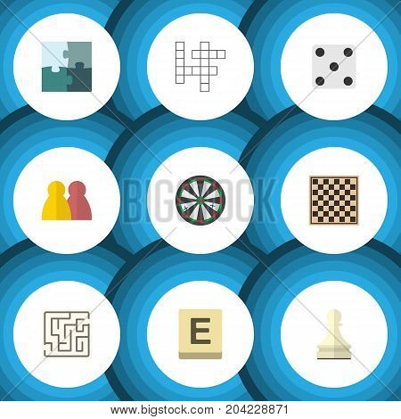 Flat Icon Play Set Of Pawn, Labyrinth, Jigsaw And Other Vector Objects