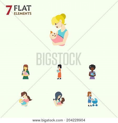 Flat Icon Parent Set Of Woman, Newborn Baby, Mam And Other Vector Objects