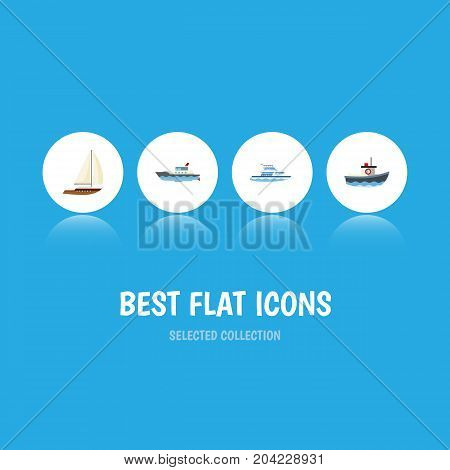 Flat Icon Vessel Set Of Sailboat, Transport, Boat And Other Vector Objects
