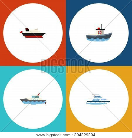 Flat Icon Boat Set Of Boat, Sailboat, Cargo And Other Vector Objects