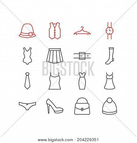 Editable Pack Of Pompom, Handbag, Evening Dress Elements.  Vector Illustration Of 16 Garment Icons.