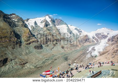 ALPS, AUSTRIA - 27.08.2017: View of Pasterze glacier and Grossglockner mountain in Hohe Tauern National Park, Austria