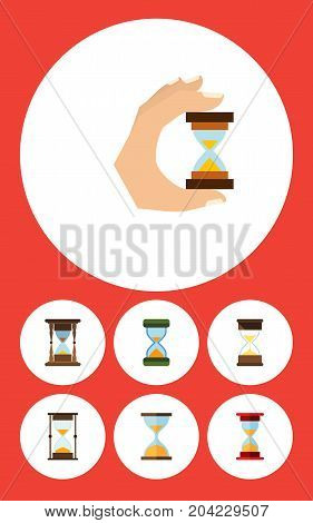 Flat Icon Sandglass Set Of Sand Timer, Loading, Minute Measuring Vector Objects