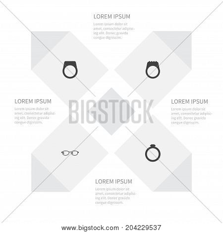 Icon Accessories Set Of Circle, Geek, Gemstone And Other Vector Objects