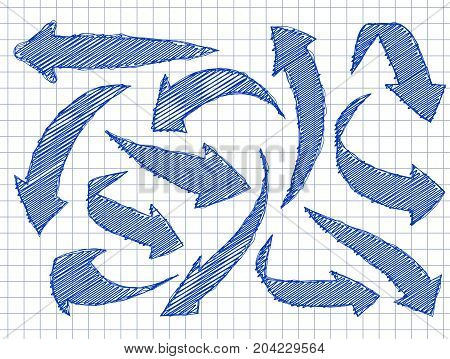 Set Of Arrows For Your Design In Hand Drawn Style. Blue Ink On A Schools Checkered Background.