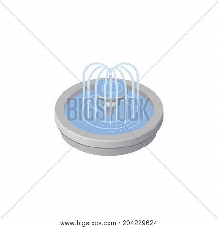 Park Decoration Vector Element Can Be Used For Fountain, Park, Water Design Concept.  Isolated Fountain Isometric.