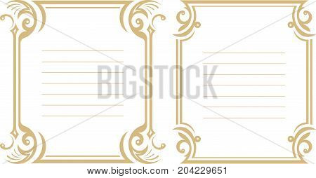 Pair of lined decorative frame in gentle tones.