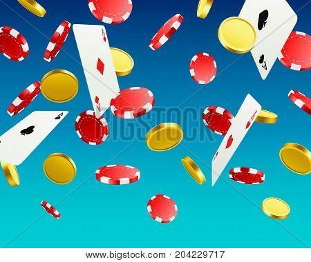 A big victory. Winning in the casino. Flying chips, playing cards and coins on a blue background . Vector illustration