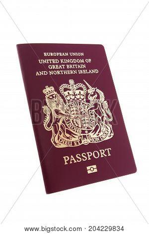 British Passport Isolated On White Background