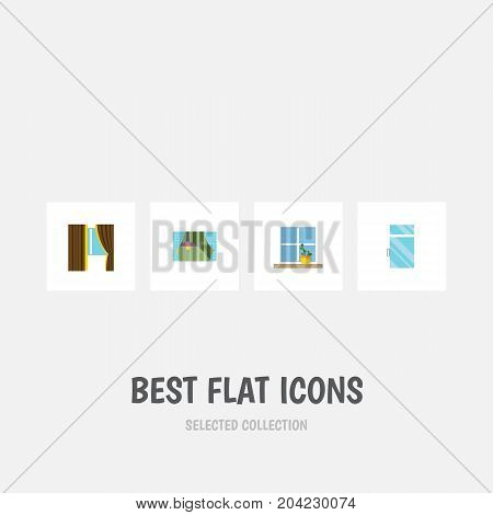 Flat Icon Glass Set Of Flowerpot, Clean, Glass And Other Vector Objects