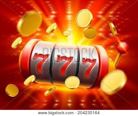 Big win slots 777 banner casino . Vector illustration